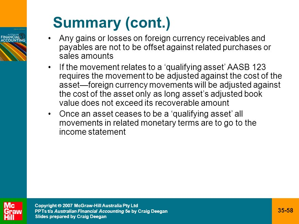 Summary (cont.) Any gains or losses on foreign currency receivables and payables are not to be offset against related purchases or sales amounts.