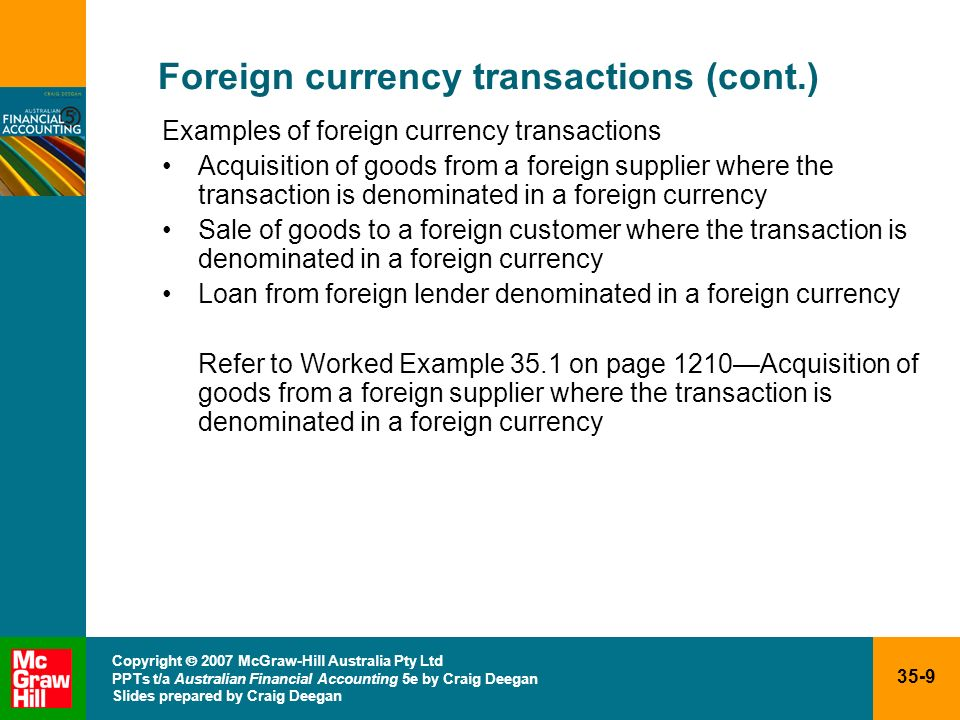 Foreign currency transactions (cont.)