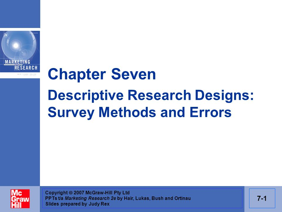 Chapter Seven Descriptive Research Designs: Survey Methods and Errors