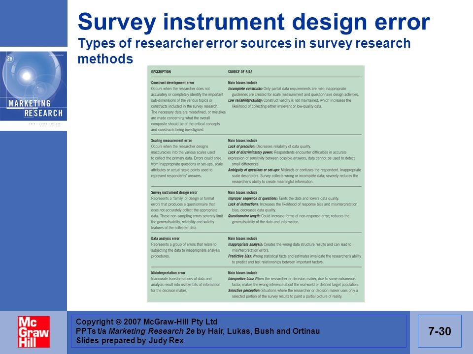 Survey instrument design error Types of researcher error sources in survey research methods