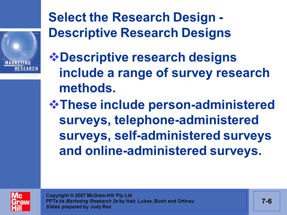 Select the Research Design - Descriptive Research Designs