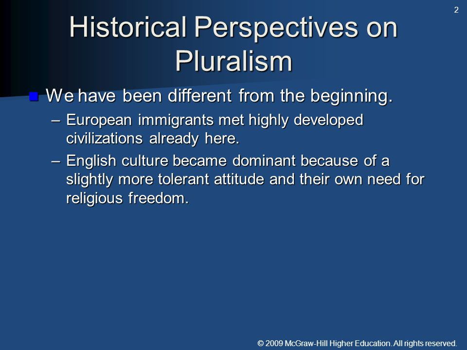 Historical Perspectives on Pluralism
