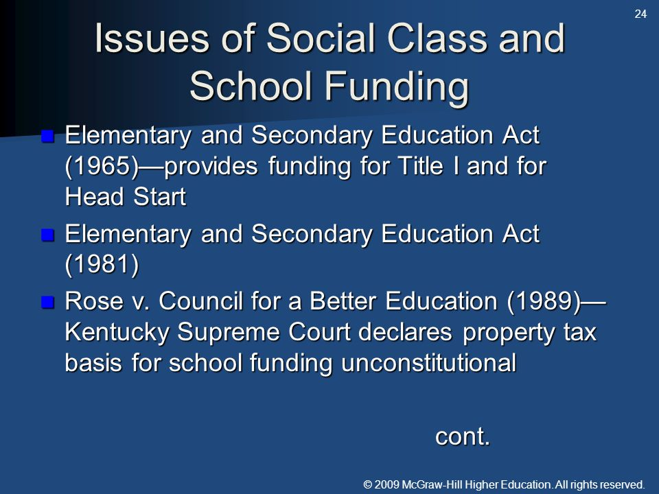 Issues of Social Class and School Funding