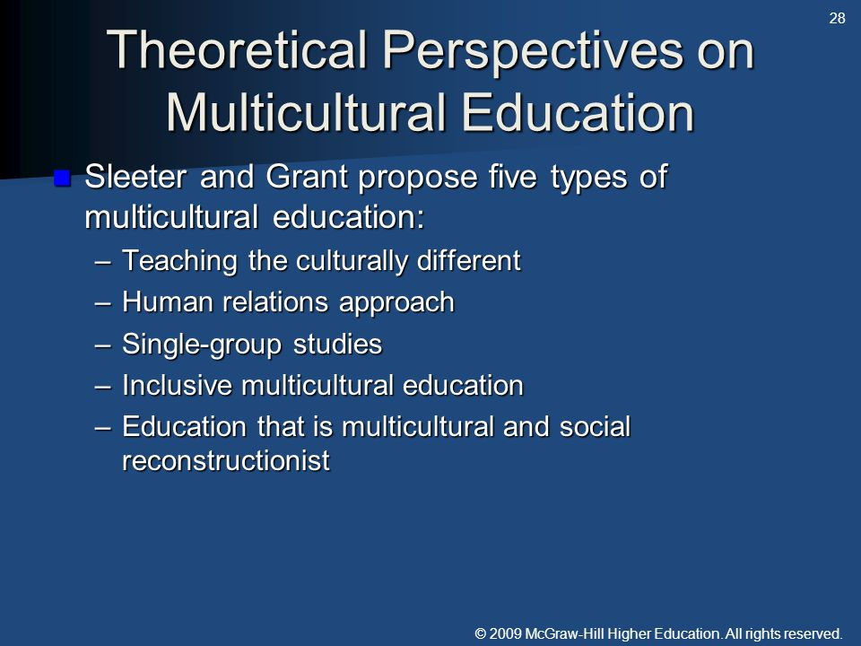 Theoretical Perspectives on Multicultural Education