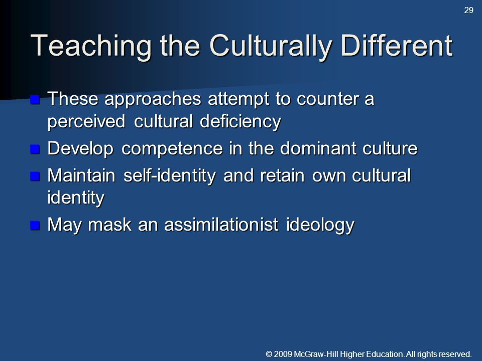 Teaching the Culturally Different
