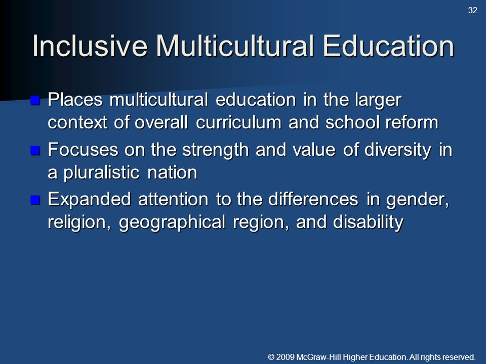 Inclusive Multicultural Education