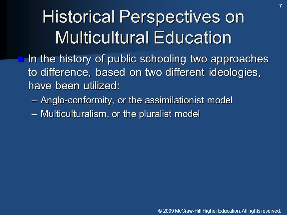 Historical Perspectives on Multicultural Education
