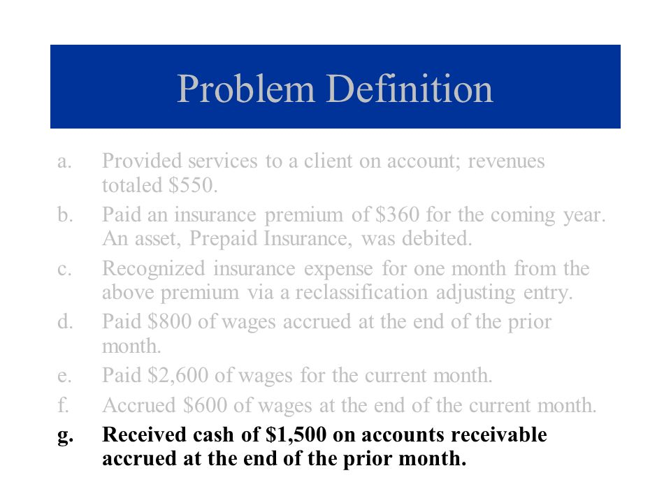 Problem Definition Provided services to a client on account; revenues totaled $550.