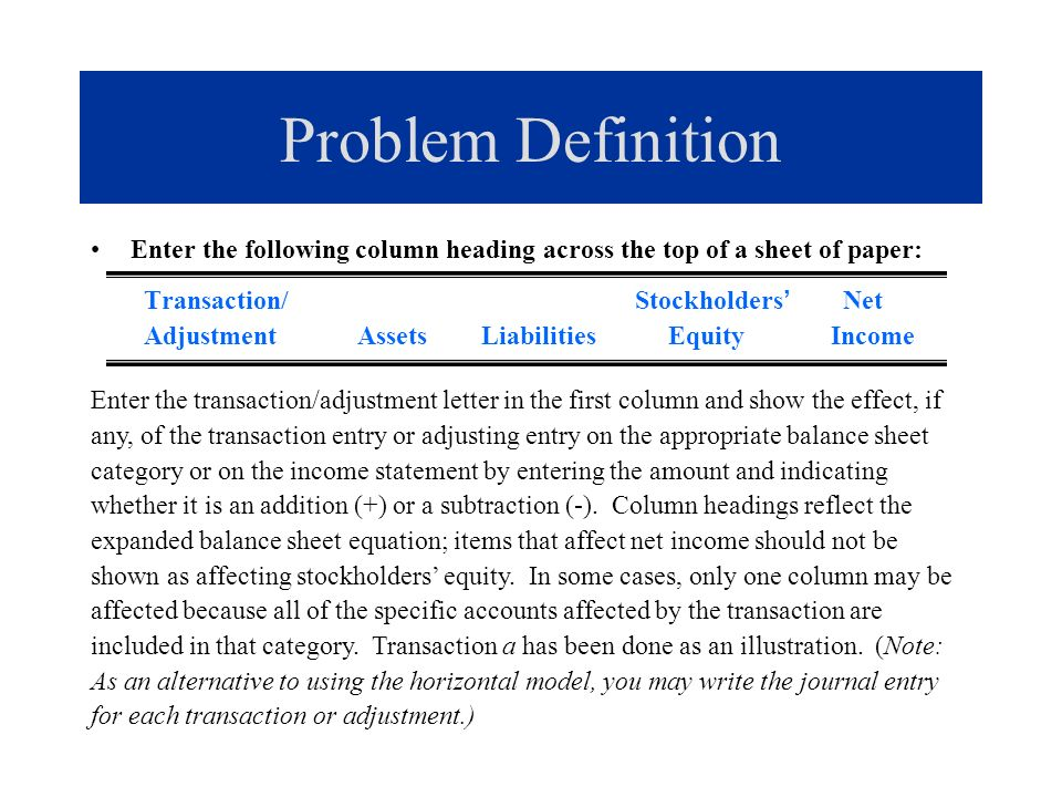 Problem Definition Enter the following column heading across the top of a sheet of paper: