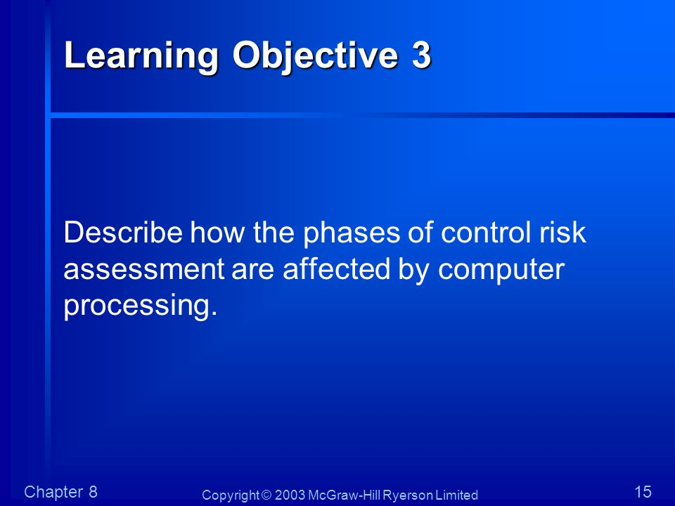 Learning Objective 3 Describe how the phases of control risk assessment are affected by computer processing.