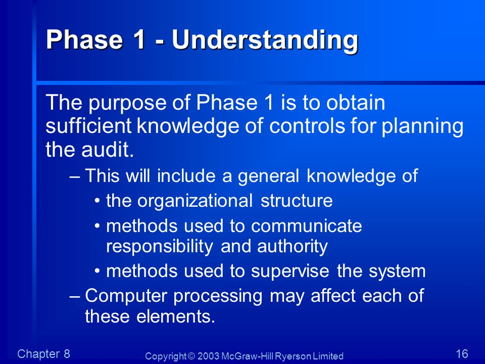 Phase 1 - Understanding The purpose of Phase 1 is to obtain sufficient knowledge of controls for planning the audit.