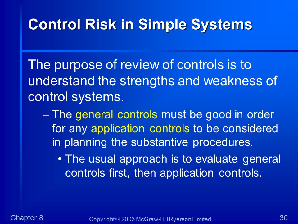 Control Risk in Simple Systems