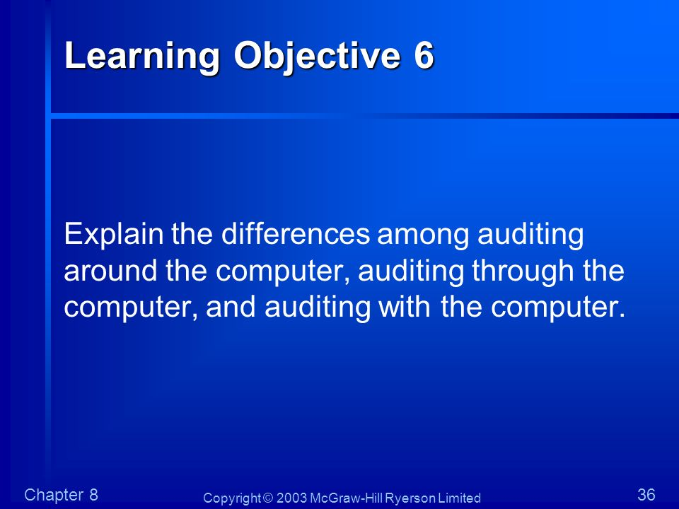 Learning Objective 6 Explain the differences among auditing around the computer, auditing through the computer, and auditing with the computer.