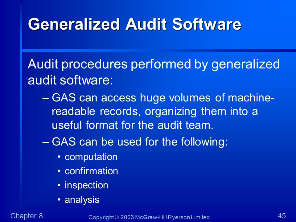 Generalized Audit Software