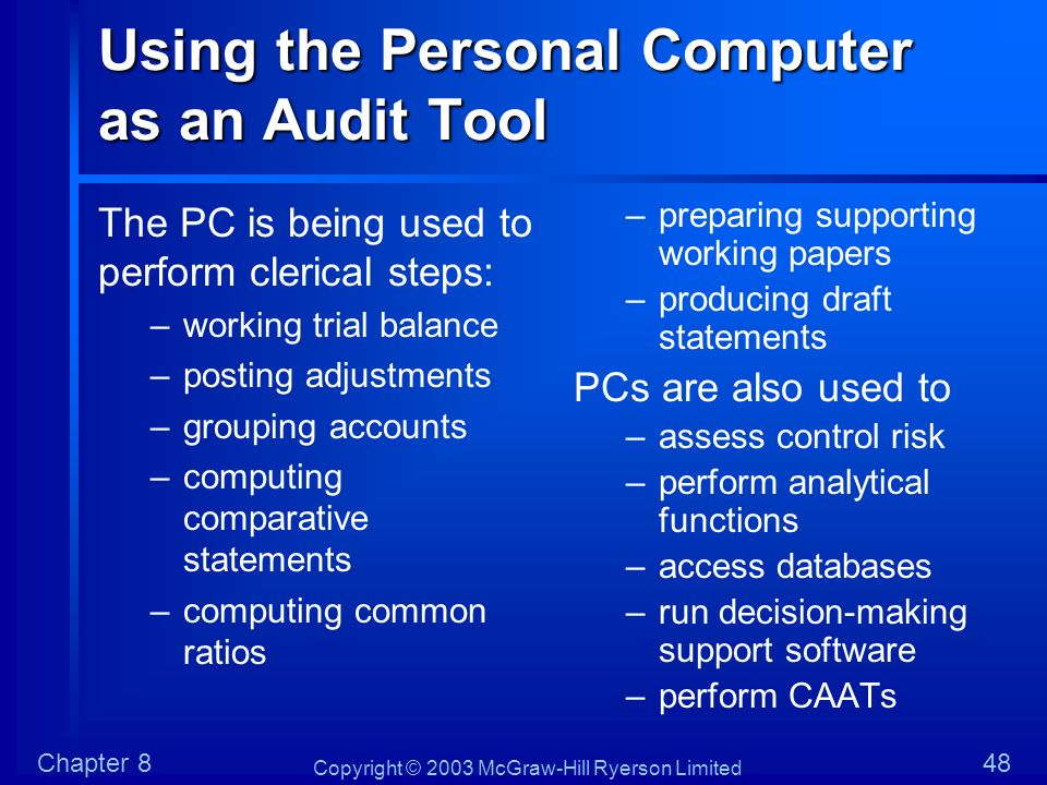 Using the Personal Computer as an Audit Tool
