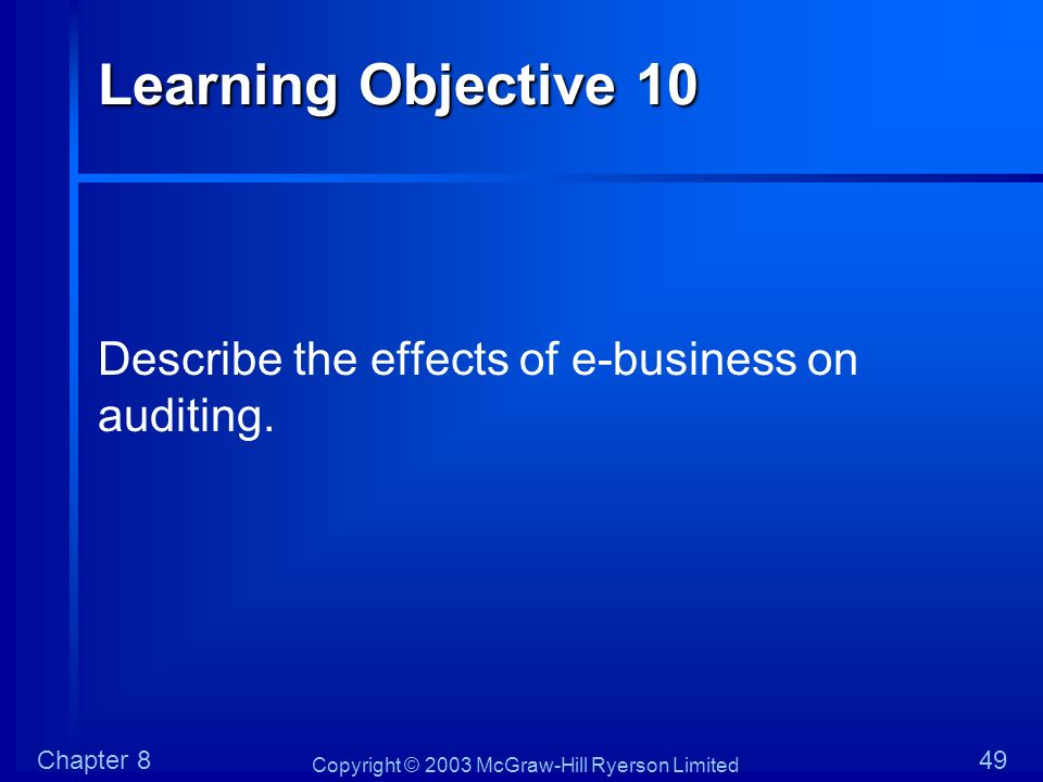 Learning Objective 10 Describe the effects of e-business on auditing.