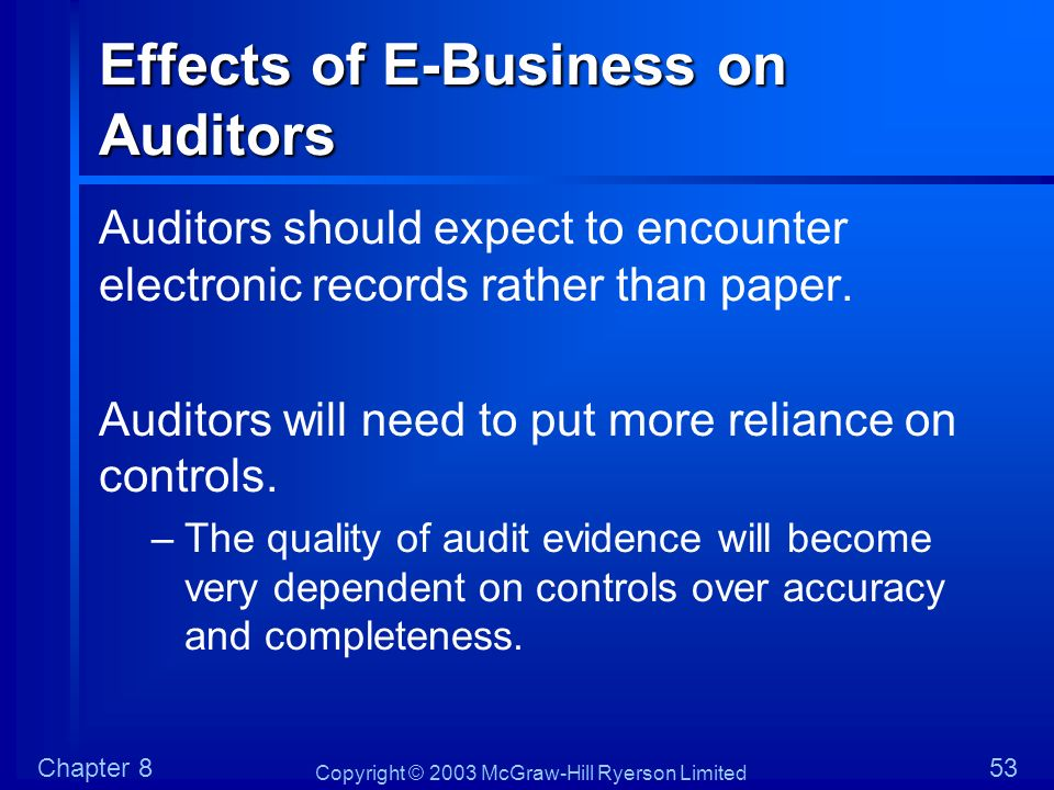 Effects of E-Business on Auditors
