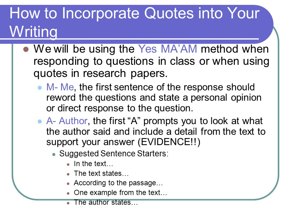 incorporating quotations into essays Who geoff quick description this is a handout showing students how to work a quote into their essay's text using the proper punctuation objectives.