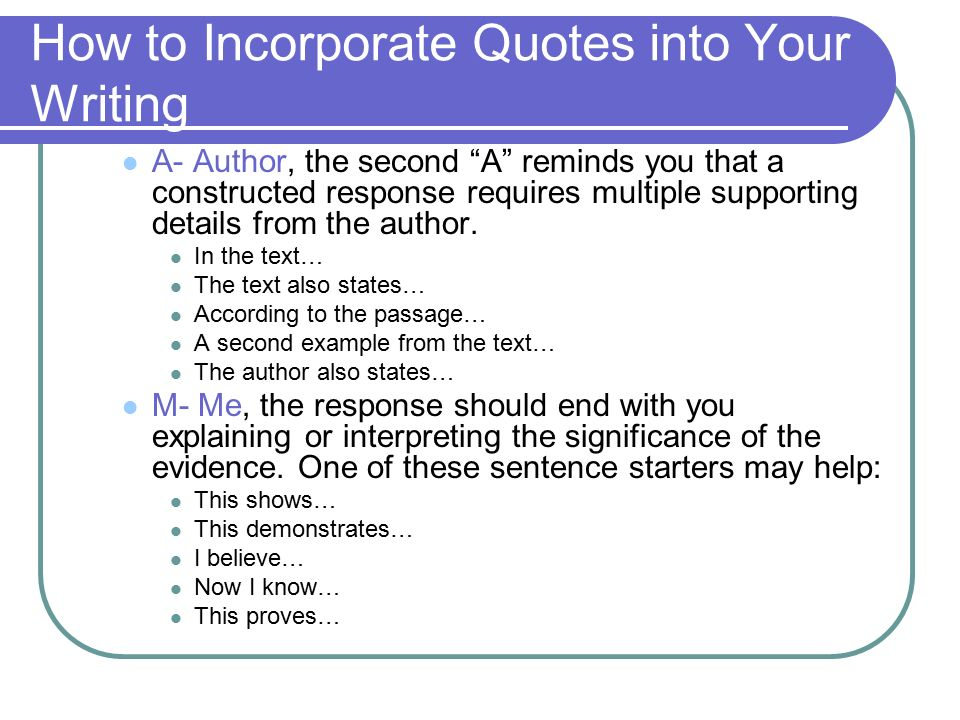 incorporating quotations into essays A short quotation contains no more than four lines of quoted material normal  mla formatting should be used when incorporating a short quotation into your.