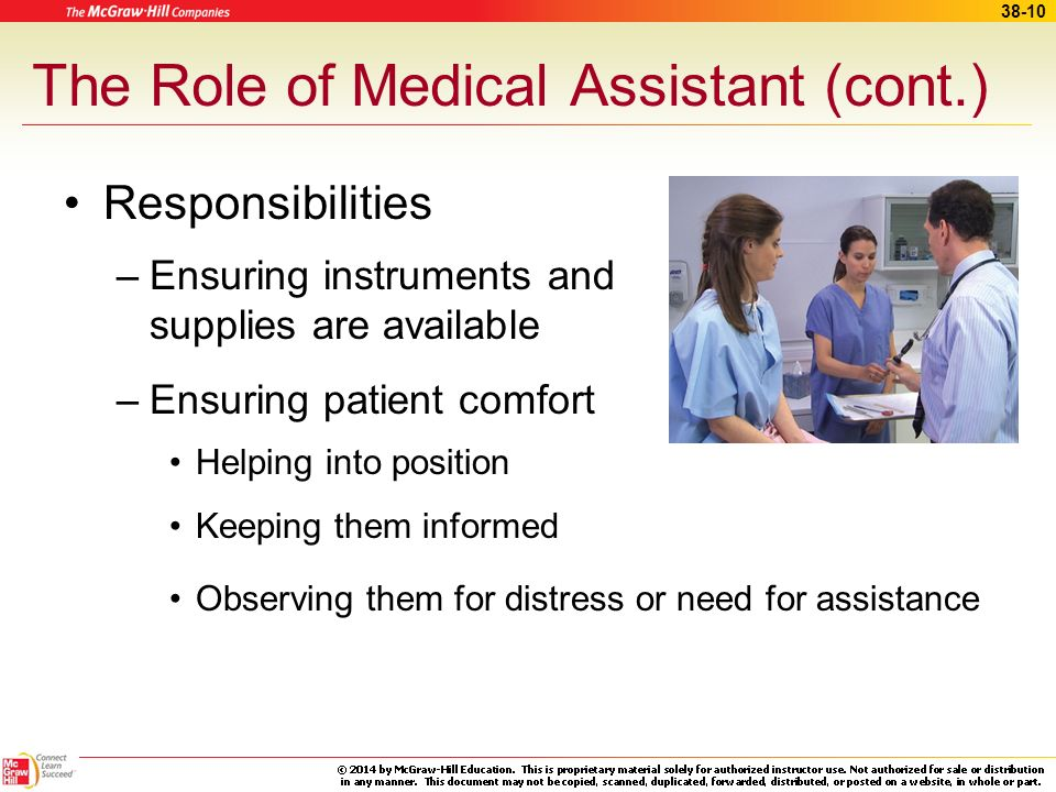 The Role of Medical Assistant (cont.)