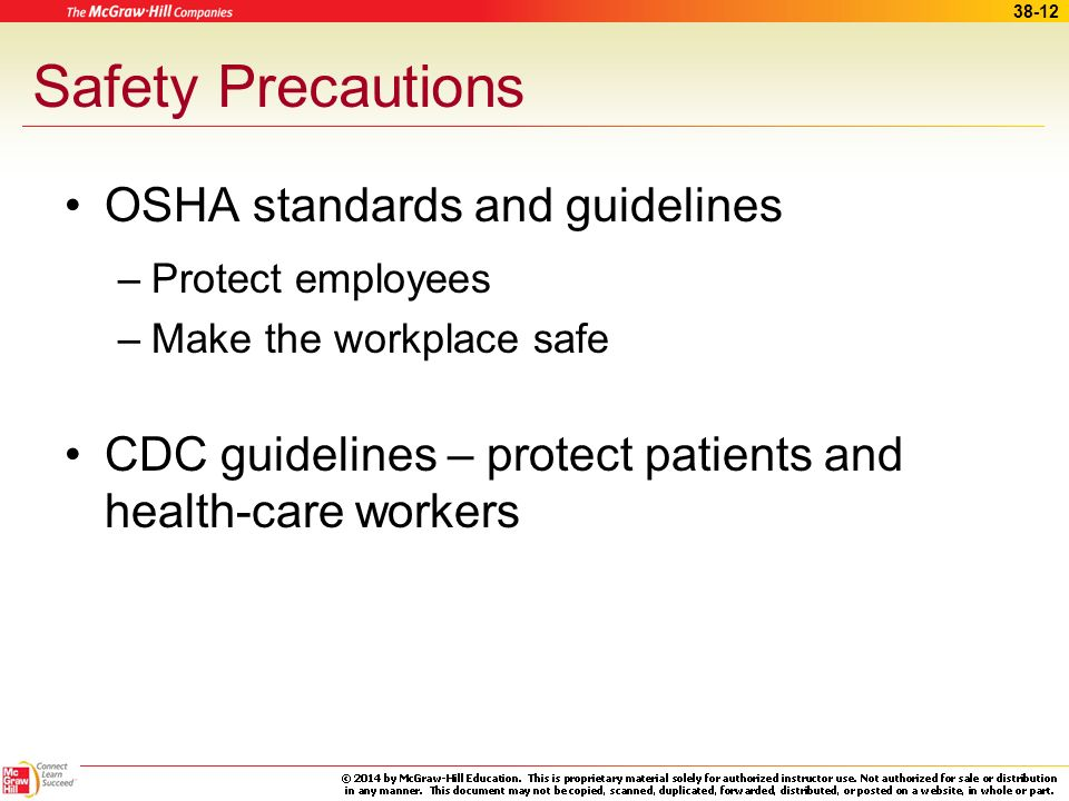 Safety Precautions OSHA standards and guidelines