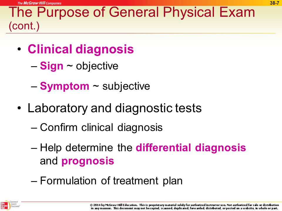 The Purpose of General Physical Exam (cont.)