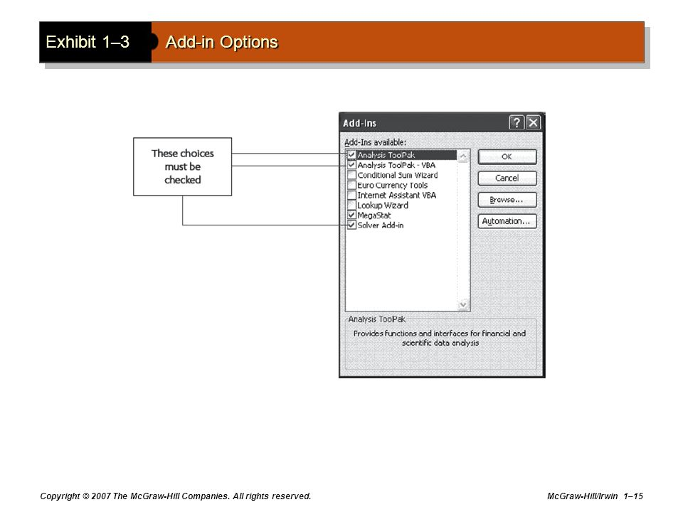 Exhibit 1–3 Add-in Options