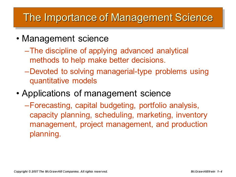 The Importance of Management Science