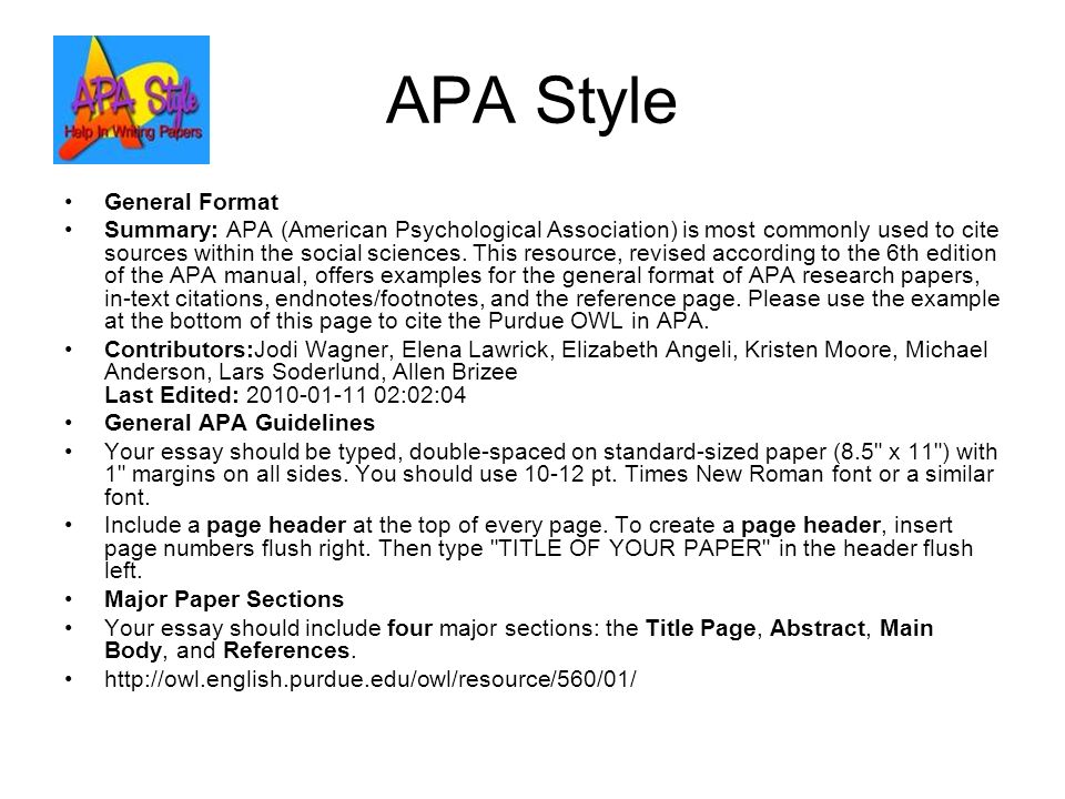 Essay apa format example 6th abstract