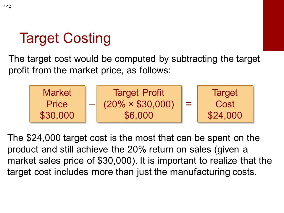 4-12 Target Costing. The target cost would be computed by subtracting the target profit from the market price, as follows: