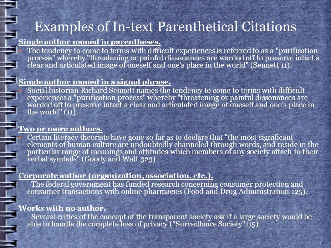 Examples Of Intext Parenthetical Citations