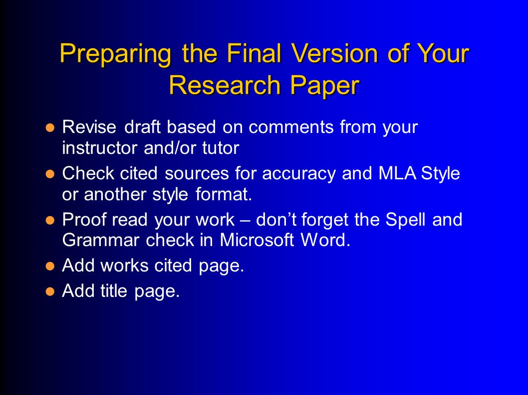 preparing for research paper Some tips for preparing a research presentation organizing your presentation designing your slides preparing and  write these down on a piece of paper and bring.