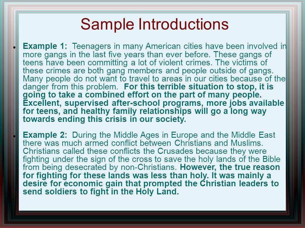crusades thesis statement