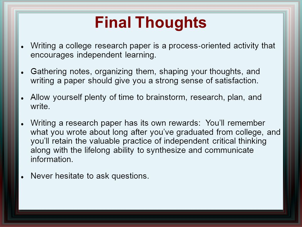 write college research paper