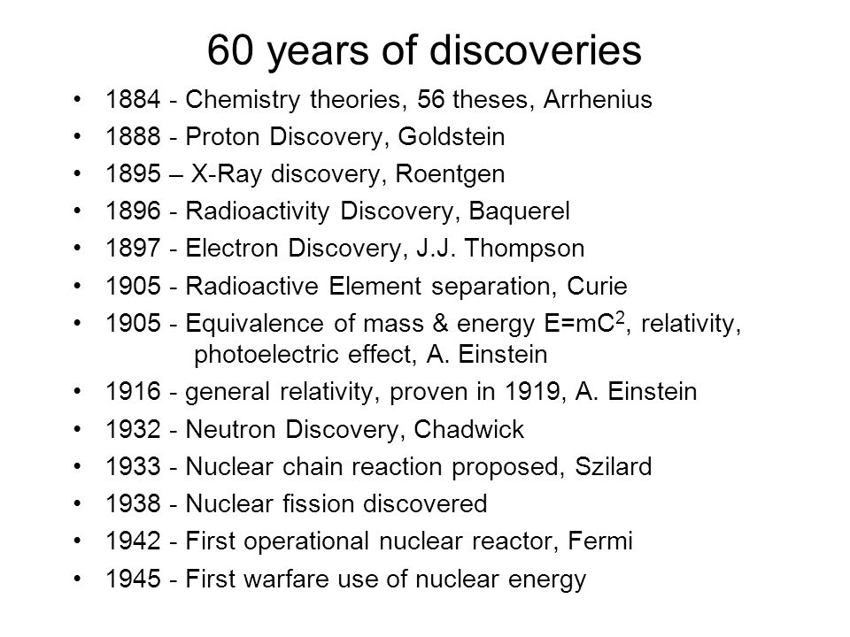 Nuclear Chemistry Brief History Of Nuclear Related