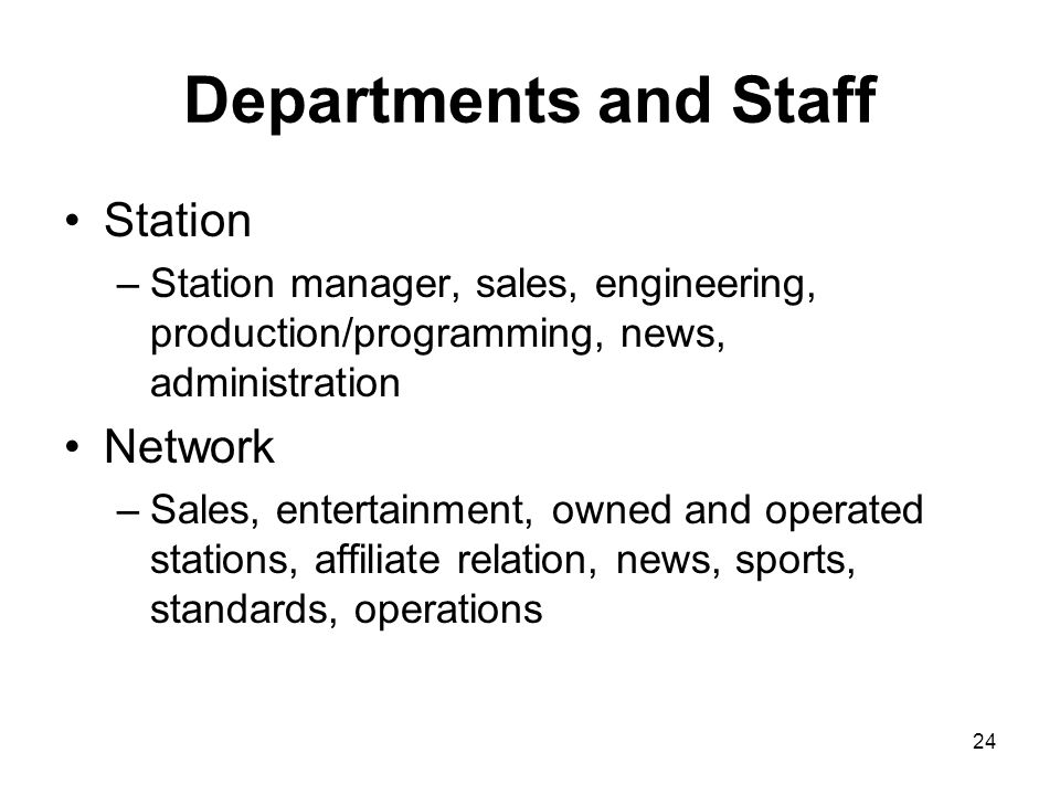 Departments and Staff Station Network