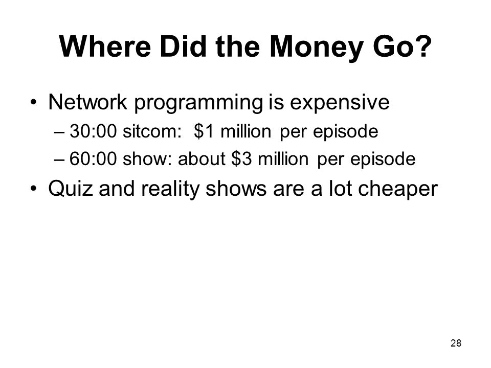 Where Did the Money Go Network programming is expensive