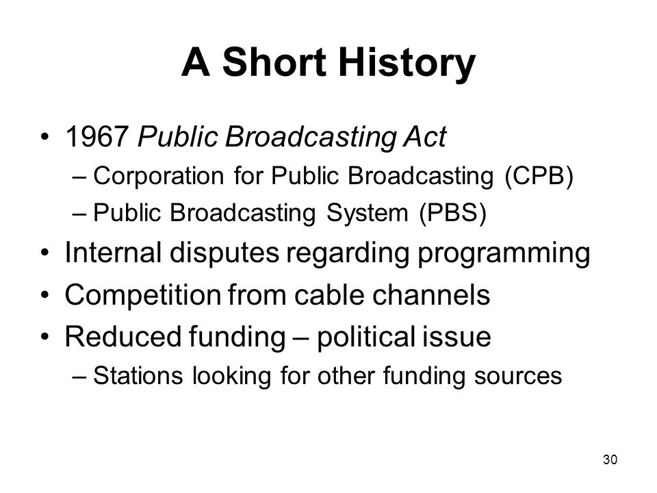 A Short History 1967 Public Broadcasting Act