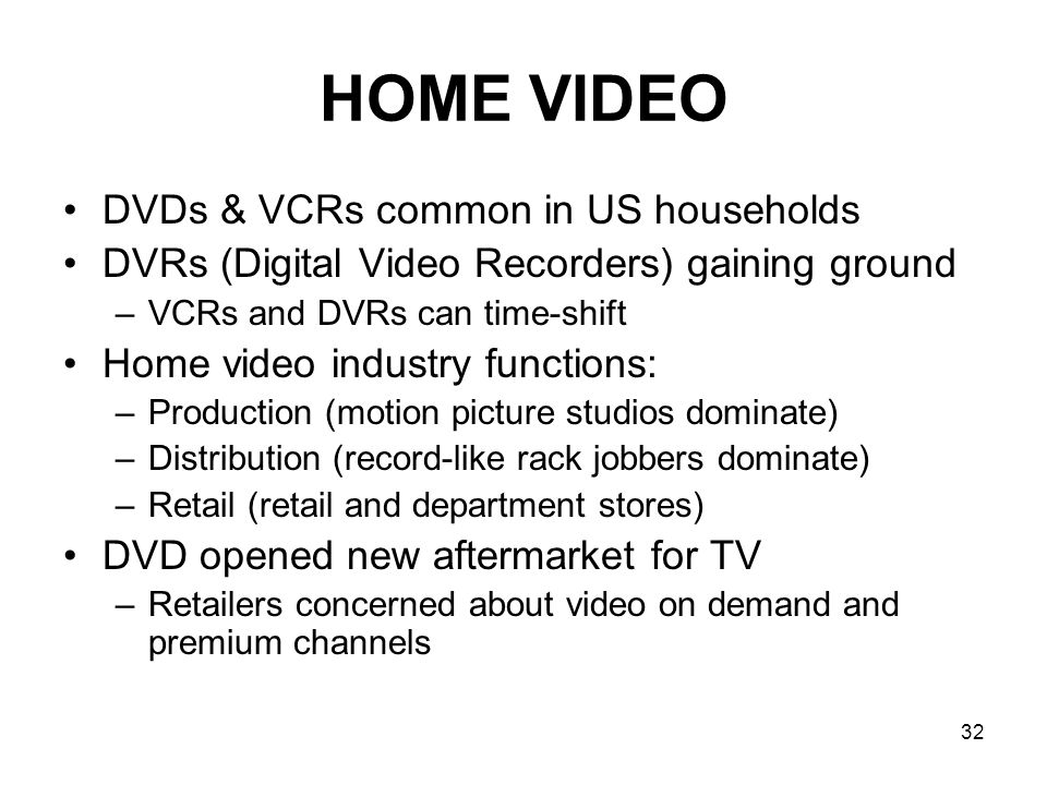 HOME VIDEO DVDs & VCRs common in US households