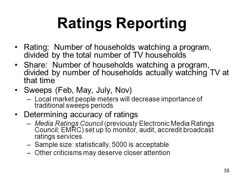Ratings Reporting Rating: Number of households watching a program, divided by the total number of TV households.