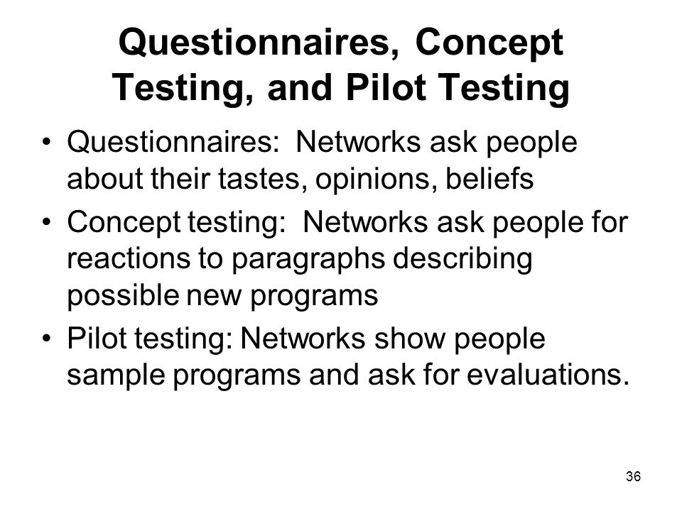 Questionnaires, Concept Testing, and Pilot Testing