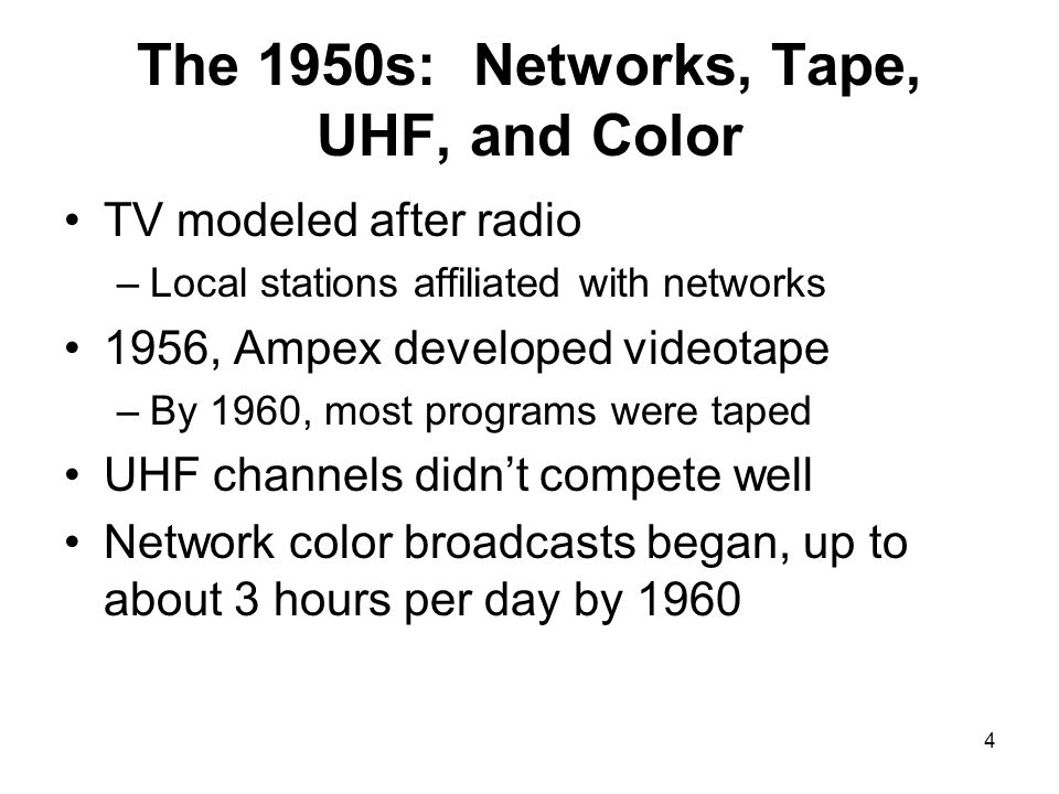 The 1950s: Networks, Tape, UHF, and Color