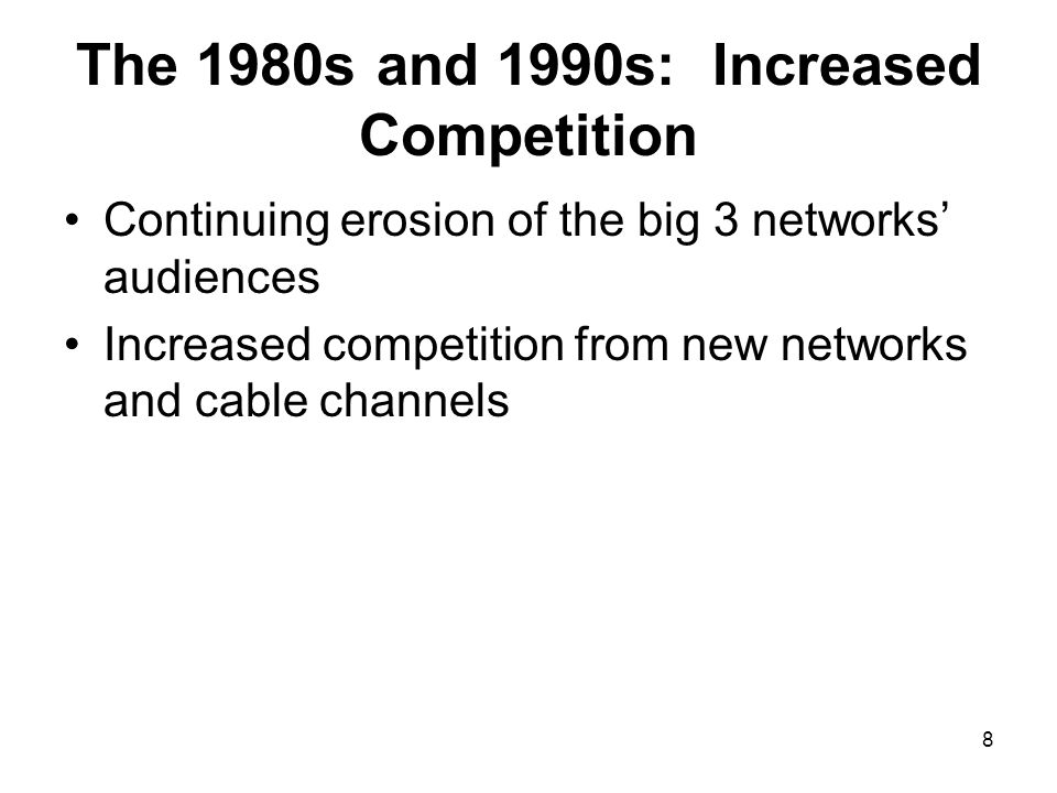 The 1980s and 1990s: Increased Competition