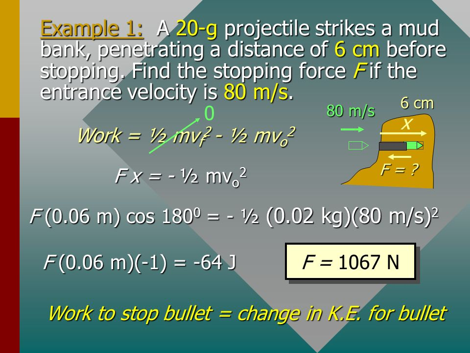 Work to stop bullet = change in K.E. for bullet