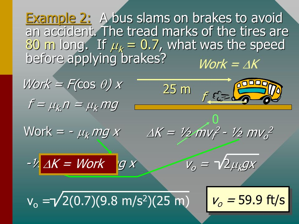 Example 2: A bus slams on brakes to avoid an accident