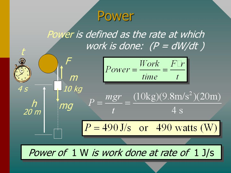 Power of 1 W is work done at rate of 1 J/s