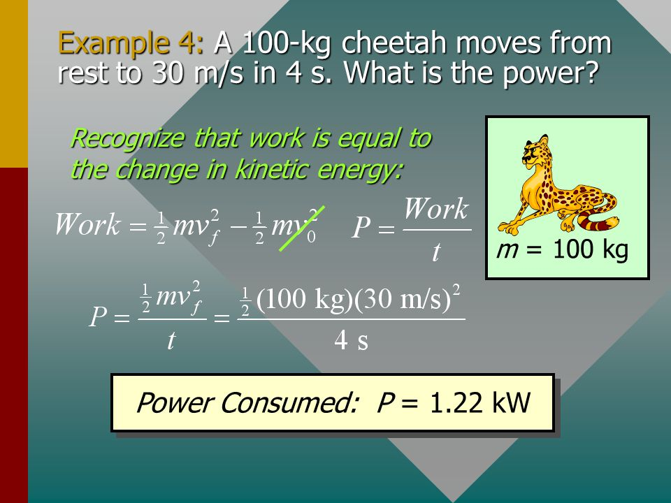 Example 4: A 100-kg cheetah moves from rest to 30 m/s in 4 s