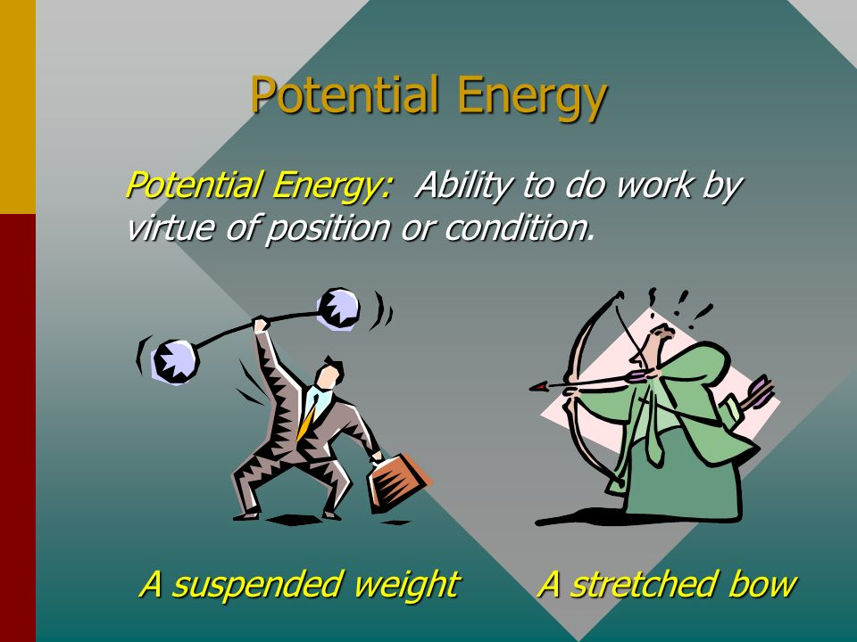 Potential Energy Potential Energy: Ability to do work by virtue of position or condition. A suspended weight.
