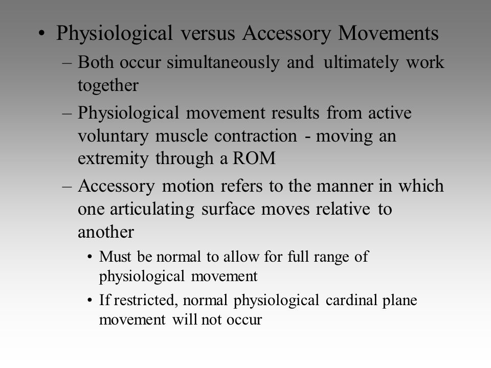 Physiological versus Accessory Movements