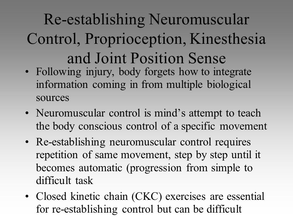 Re-establishing Neuromuscular Control, Proprioception, Kinesthesia and Joint Position Sense